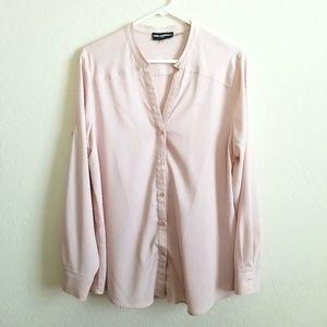 Karl Lagerfeld Split neck button down blouse Large